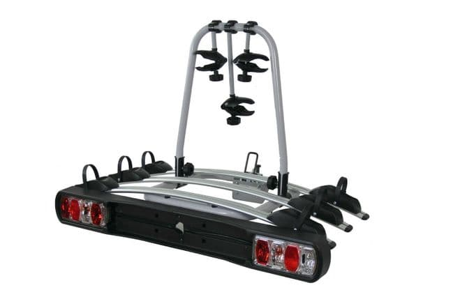 TOW BAR MOUNTED 3 BIKE RACK CYCLE CARRIER WITH LIGHTS and 7 pin ADAPTOR